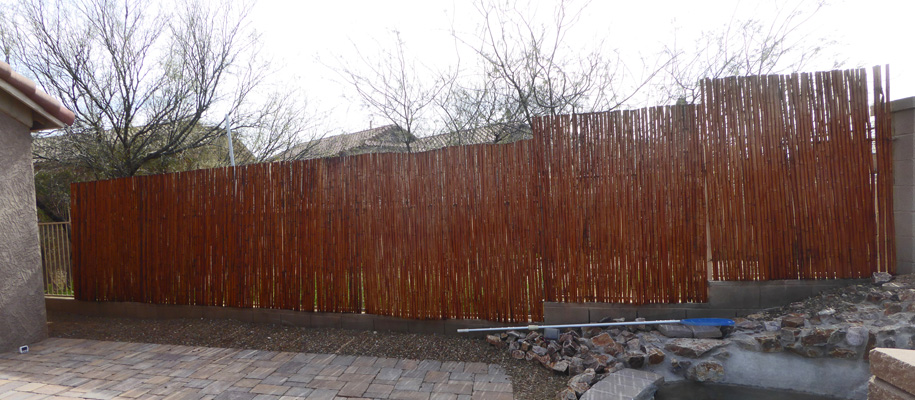 Stained bamboo fence