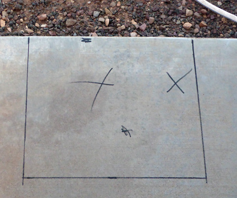 concrete with x's
