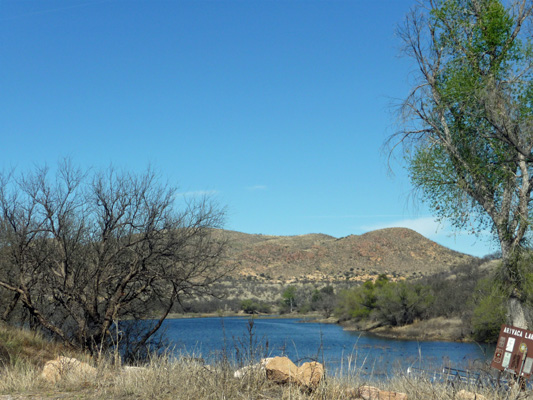 Arivaca Lake campsite view