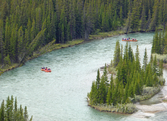 River rafts on Bow River