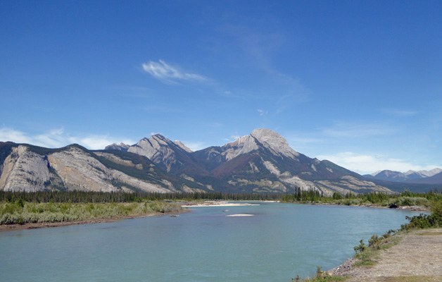 Athabasca River view Jasper