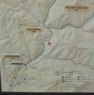 Three Waterfalls Trail map