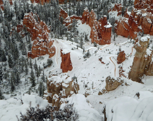 Bryce Pt trail in snow