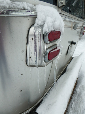 Icicles on Airstream trailer taillight