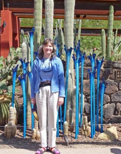 Sara Schurr and Blue Chihuly Glass at Phoenix Botanical Garden