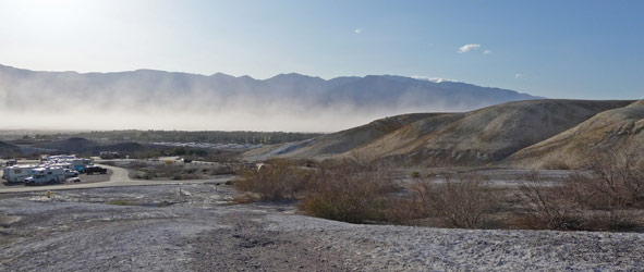 Dust blowing in Death Valley National Park CA from Texas Springs Campground