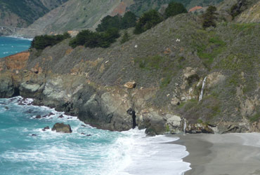 Waterfall along Big Sur coastline CA