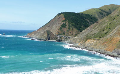 Scenic bridge along Big Sur coastline CA