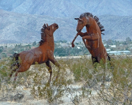 extinct horses sculpture Borrego Springs, CA