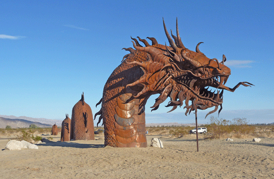 Dragon sculpture's head Borrego Springs CA