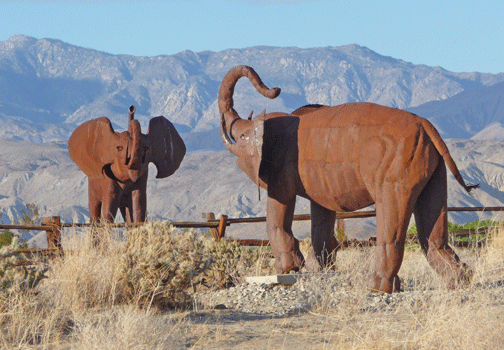 African Elephant sculptures Borrego Springs, CA