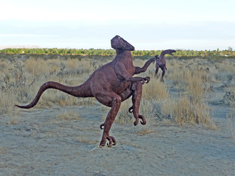 Velociraptor sculptures Borrego Springs, CA