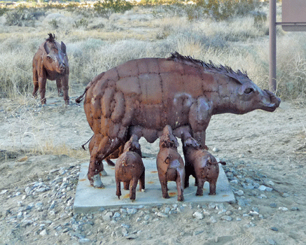 Peccaries sculpture Borrego Springs, CA