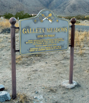 Galleta Meadows Sign Borrego Springs CA
