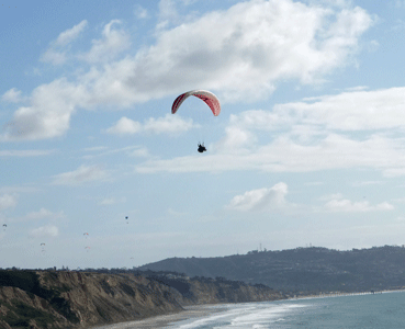 Paraglider over Torrey Pines State Reserve CA