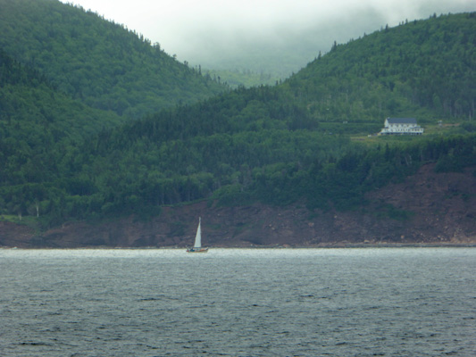 Sailboat along Cape Smokey