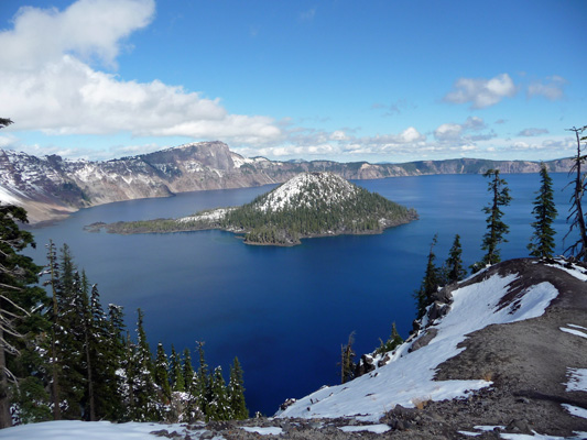 Crater Lake and Wizard Island in snow