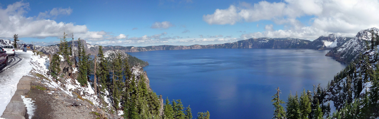 Crater Lake in snow panorama