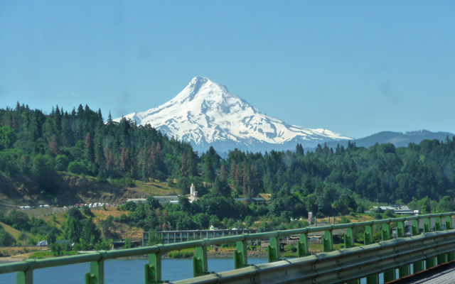 Mt Hood from the Hood River Bridge looking south