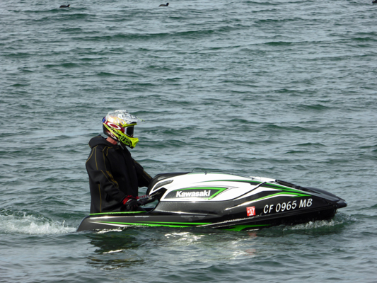 Jet skier in dry suit