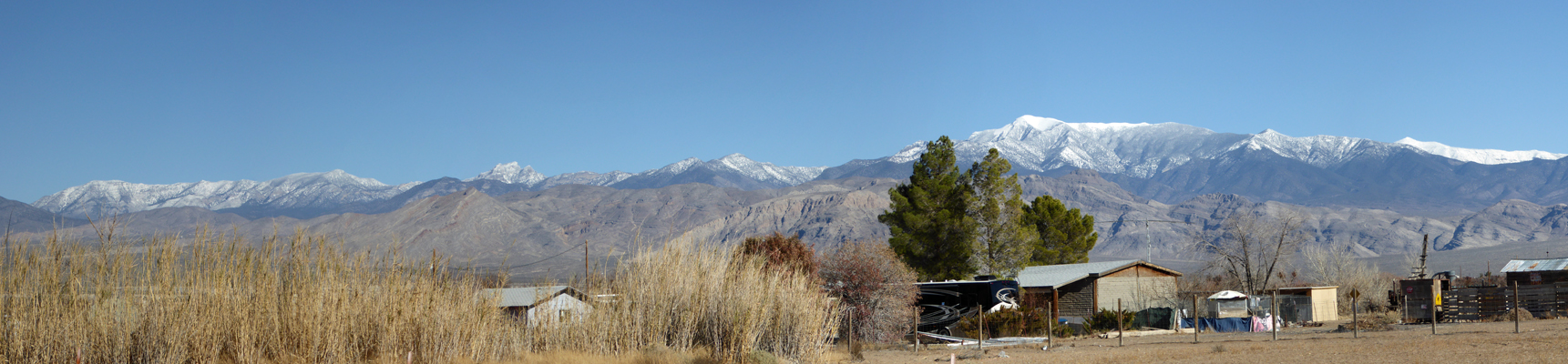 Snow on mountains east of Pahrump NV