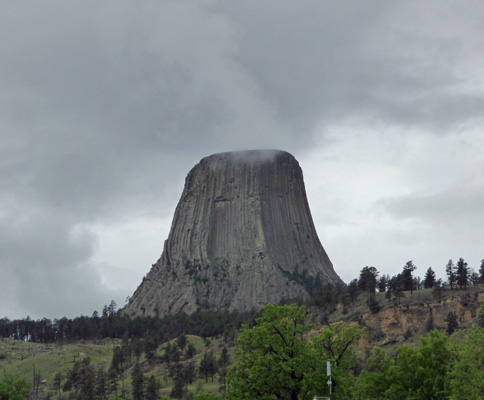 Devils Tower in clouds