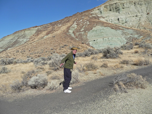 Walter Cooke in the wind at Story in Stone trail John Day Fossil Beds