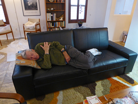 Walter Cooke asleep on couch