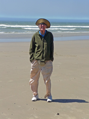 Walter Cooke on windy beach in Oregon