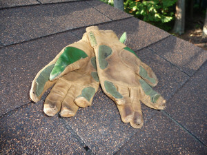 Work gloves worn out reconstructing gazebo