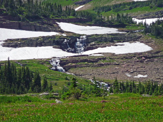 Waterfall at Logan Pass