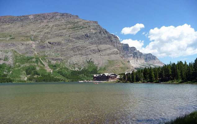 Many Glacier Hotel and Swiftcurrent Lake