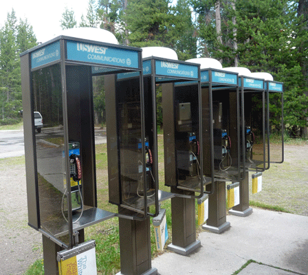 Telephone Booths at Fishing Bridge RV campground at Yellowstone