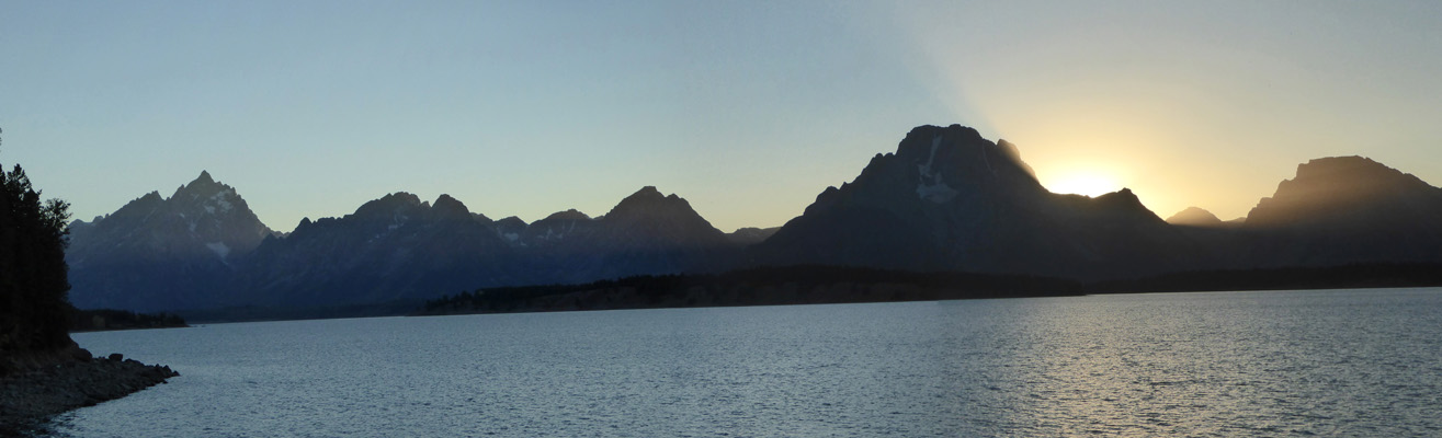 Sunset behind Mount Moran