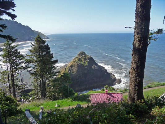 View southward from above Heceta Head Lighthouse