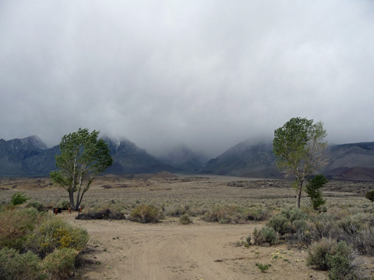 Clouds hiding Sierras at Goodale Creek Campground CA