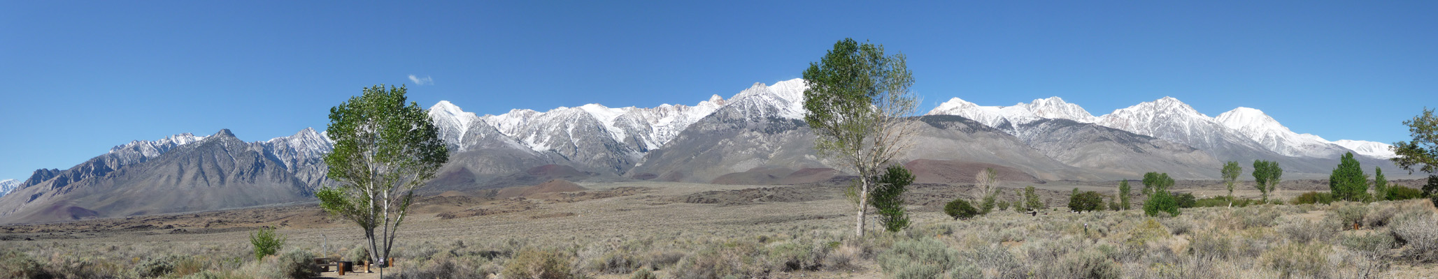 Fresh snow on Sierras from Goodale Creek Campground CA