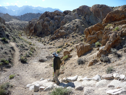 Walter Cooke on stairs on Arches Trail Alabama Hills CA