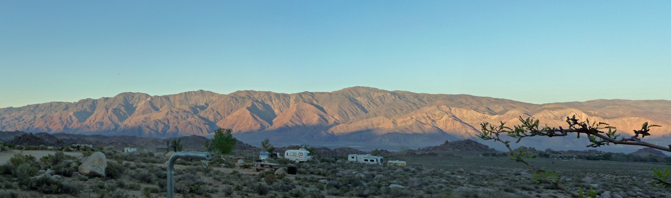 Inyo Mountains at sunset Tuttle Creek Campground CA