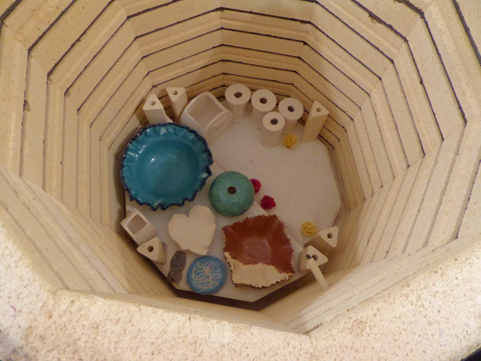 Kiln with pottery in it