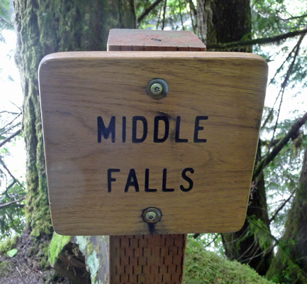 Middle Falls of Lewis River sign
