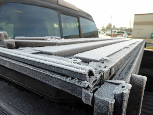 Frost in the morning on truck