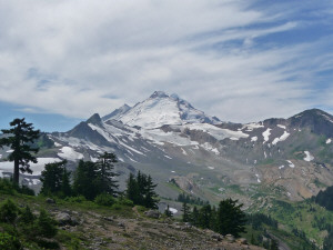 Mt. Baker from fork in trail of Ptarmigan Ridge and Chain Lakes Trails