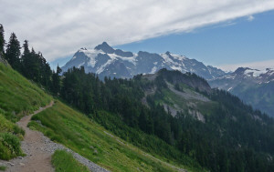 Mt. Shuksan from Ptarmigan and Chain Lakes Trail Mt. Baker WA
