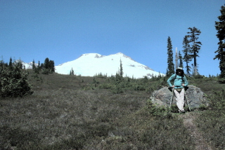 Walter in Morowitz Meadow with Mt Baker