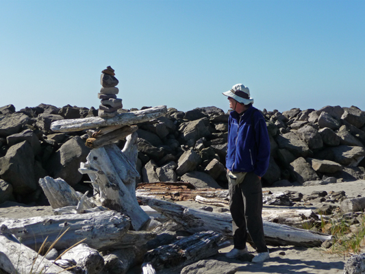 Rock and driftwood cairn South Jetty Walter Cooke