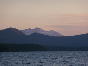 Mt Diamond at Lake Waldo at sunset