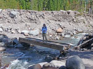 Walter crossing Sandy River
