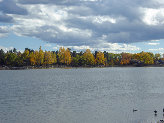The fall color on the other side of the lake was very nice.