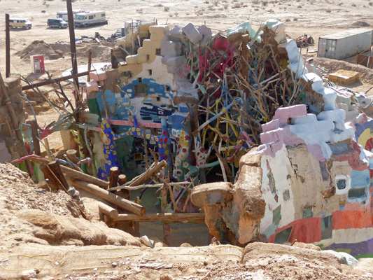 View into Museum area of Salvation Mountain from top